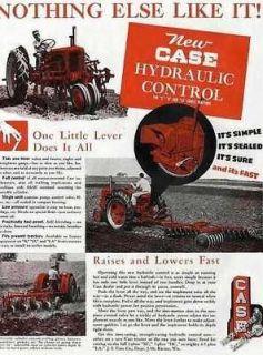 1949 Case Tractors Hydraulic Control Vintage Farm Ad
