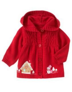 NWT GYMBOREE COZY CUTIE SWEATER Size 2T 4T 5T Red Hooded Cardigan