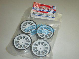 Tamiya 84249 RC Medium Narrow Mesh Wheels (White & Chrome Rims/+2)