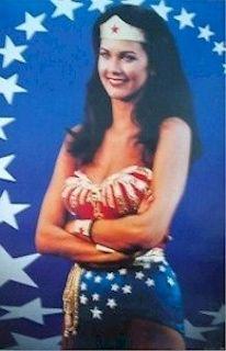 WOMAN POSTER ~ BLUE STARS 22x34 Lynda Carter TV Pinup DC Comic Book