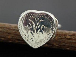925 Silver Heart Locket Ring Size 7