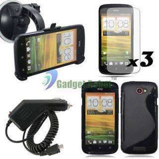 SALE 3V3 BLACK TPU GEL CASE+CAR MOUNT STAND HOLDER+CHARGER+LCD for HTC