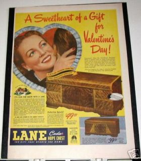 LANE Cedar Hope Chest Ad 1946 VALENTINES DAY
