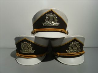 Vintage 3 Marching Band Hats, Brown And White, 2 Large, 1 Small