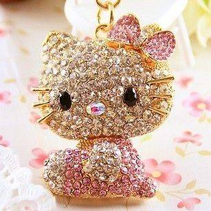 Hello Kitty Pet Cat Swarovski Crystal Charm Pendant Key Bag Chain Gift