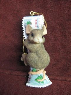 CHARMING TAILS STAMP DISPENSER CHRISTMAS ORNAMENT 87483~NEW FACTORY