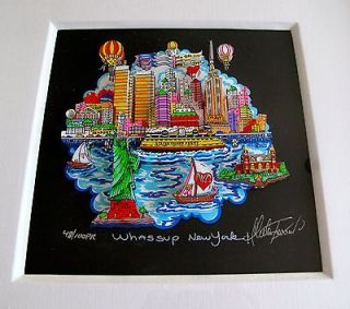 CHARLES FAZZINO Hand Signed Framed 3 D WHASSUP NEW YORK Rare Black