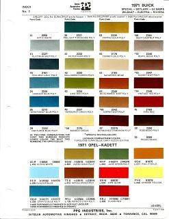 1971 Buick, Skylark thru Riviera Paint Chip Chart by Ditzler PPG
