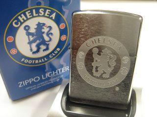 Chelsea FC Official Engraved Crest Brush Chrome Zippo Lighter (200CFC