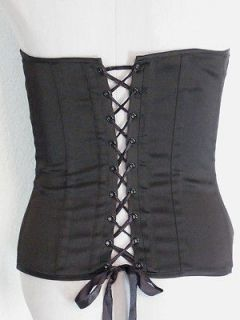 Charlotte Russe Corset Top Size Large Black & White Lace Up Back Hook
