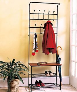 ENTRYWAY BENCH SEAT STORAGE SHOE SHELF HAT COAT UMBRELLA RACK