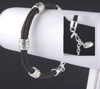 Genuine Brown Leather Equestrian Bracelet W/ Sterling Bead Accents