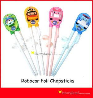 NEW Robocar Poli Roi Set Edison Training Chopsticks for Kids + Gift