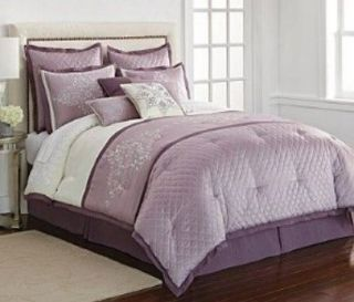 QUEEN   JCP J.C. Penney Home   Serena 10 pc Purple COMPLETE BED SET