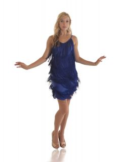 Fringe Flapper Dress. 1920s Charleston. Ladies. Royal Blue. New