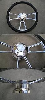 CHEVY horn billet steering wheel & adapter 4 Chevy Ididit GM Flaming