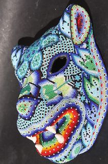 XL HUICHOL PAPER MACHE JAGUAR MASK MEXICAN NATIVE ETHNIC ART WALL