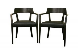Wenge Wood Dining Chairs w/ Black Faux Leather Seats