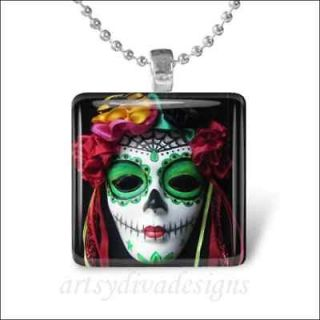 DIA DE LOS MUERTOS MASK GLASS TILE PENDANT NECKLACE
