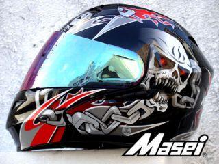 MASEI 815 Matte Black Silver Gloss Black Red Skull DOT Flip Up