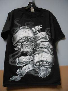 Lowrider Brand SMILE NOW CRY LATER ( LTS072BLK ) Black Mens Cotton