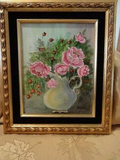 Vintage Pink Roses in White Pitcher Oil Canvas w/Black Velvet & Gold