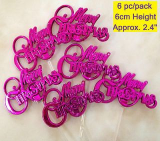 6x Cupcake Pick Cake Topper Puffy Christmas Tree Fruit Party Food