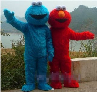 Red Elmo and Cookie Monster Mascot Cartoon Costume Fancy party dress