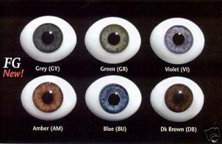 Doll Eyes, #FG High Quality Glass Flat Eyes 8mm