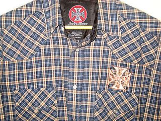 JESSE JAMES WEST COAST CHOPPERS LOGO PATCH PEARL SNAP WESTERN SHIRT