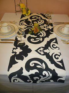 Table Runner Black White Damask Funky Retro Modern Design UK NO P+P