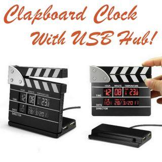 Clapper Board Cinema Film Clap Calendar Clock 4 Port USB Hub Movie