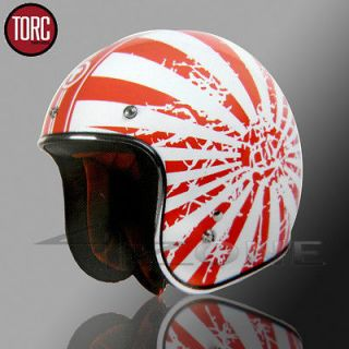 TORC 3/4 OPEN FACE VINTAGE MOTORCYCLE SCOOTER HELMET RED WHITE JAPAN