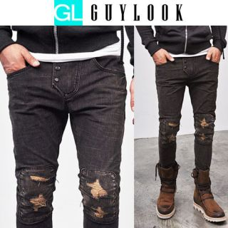 Vintage Distressed Checkered Patchwork Mens Skinny Jeans By Guylook