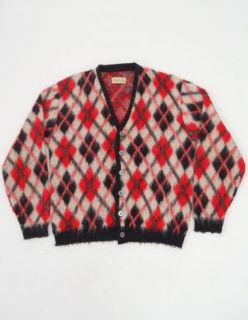 70s Acrylic ORLON Button Front GRUNGE Kurt Cobain CARDIGAN Sweater L Y