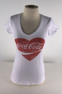Coca Cola White Vintage Heart Tee Shirt 1700