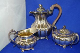 Wm. Rogers Silver Plate Tea Set w/ Pot, Creamer & Lidded Sugar Bowl