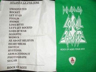 2012 Def Leppard Rock of Ages Tour Crew PKG Crew Shirt, SETLIST, Pick