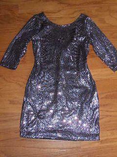 DILLARDS ELEGANT NAVY BLUE/ PINK SEQUIN DRESS SIZE LARGE WORN ONCE
