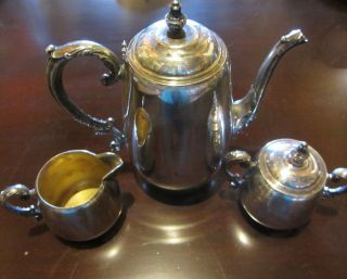 Silver Plate 3 Piece Tea Coffee Service Set Tea Pot Sugar Creamer