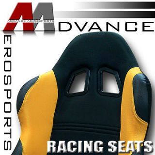 2pc LH+RH JDM Black/Yellow Fabric & PVC Leather Racing Bucket Seats