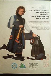 1981 Mike Palmateer NHL goalie TML skin diver suit old AD Dacor Pacer