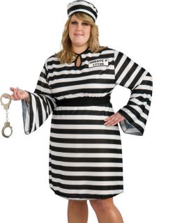 Sexy Womens Escaped Prisoner Convict Plus Size Party Costume Outfit