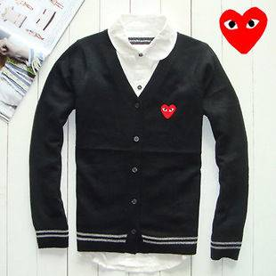COMME Des GARCONS CDG PLAY RED HEART MENS CARDIGAN SWEATER XL