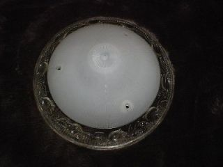 ANTIQUE tulips 1930s ART DECO frosted Glass LAMP SHADE