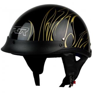 PGR B31 CONVICT BLACK GOLD Motorcycle DOT APPROVED Half Helmet Chopper