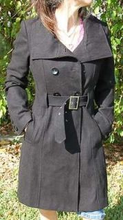 EUC   black warm cozy ladies Guess Wool Trench Coat Size S