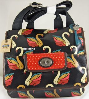 FOSSIL KEY PER OIL CLOTH BLACK MULTI SWAN ORGANIZER FLAP X BODY