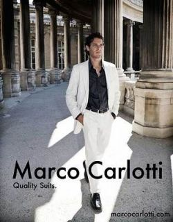 NEW Marco Carlotti Mens White Cotton Suit 48 Regular   Miami Vice