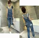 Women Ladies Girl Casual Suspender Overall Cowboy Denim Washed Jeans